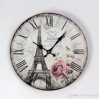 Wholesale bar clocks home for sale - Group buy 35CM Paris Eiffel Tower British Style Wood Wall Clocks Coffee Shop Restaurant and Bar Circular Digital Needle Clock Home Decor