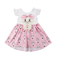 4295e36fcc023 Easter Baby Girls Rabbit Print Dresses Flying Sleeves Cartoon Infant Bunny  Jumpsuits 2019 Summer Fashion Boutique Kids Clothes