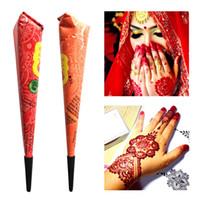 ingrosso stencil per tatuaggi hennè-Drop Ship Indian Henna Paste Tatuaggio Temporaneo Impermeabile Body Paint hena Art Cream Cono Per Stencil Mehndi Body Art