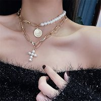 Wholesale jesus gold necklace choker resale online - Pearl Cross Chain Queen Coin Short Pendant Necklace Women Jesus Lord Prayer Jewelry Accessories Link Chain Two Pieces Set