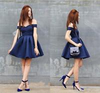 Wholesale juniors royal blue shirt for sale - Group buy Cheap Short Royal Blue Homecoming Dresses A Line Off Shoulders Juniors Sweet Graduation Cocktail Party Dress Plus Size Custom Made