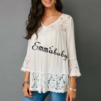 обычные женские майки оптовых-Plus Size Women T Shirt V-Neck Fashion Lace Long Sleeve Top Three Quarter Regular T-Shirts