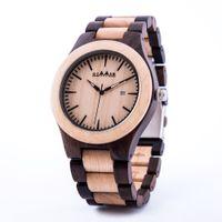 ingrosso scatola di legno del giappone-GIMSR W28 Mens Wood Watch Zabra Orologi al quarzo in legno per uomo Donna Japan Miyota Calendar Watch in confezione regalo con strumento adjus size