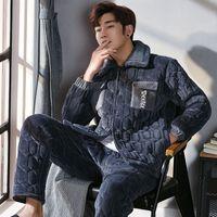 Brand Winter Cotton-Padded Pyjamas Flannel Wadded Jackets Velvet Men s Pajamas  Set Thick Sleepwear Sets Pyjamas Fashion Quilted 998b31ee0