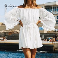 c0752a7840 Summer Beach Dress Cover-ups White Cotton Lace Mini Beach Dress Tunic For  Women Pareo Beach Swimsuit Cover up Sexy