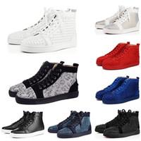 amantes do badminton venda por atacado-2019 ChristianLouboutinVermelhoBottoms Designer Red Bottoms Studded Spikes Sapatos casuais Das Mulheres Dos Homens amantes Do Partido Moda Sneakers