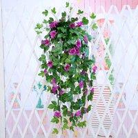 plantas de la cerca falsa al por mayor-1 unid Artificial Morning Glory Vine Hanging Wall Plant Garland Fake Garden Wall Fence Window Greenery Leaf Artificial Plants Decor