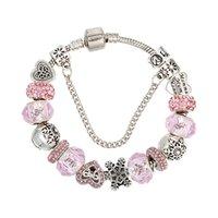 rosa kristall schmetterling großhandel-Charm Perlen Armbänder Fashion fit Pandora DIY rosa Kristall Schmetterling Perlen Armbänder für Frauen lieben Schnee Charme Armband Schmuck Hochzeitsgeschenk