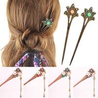ingrosso hairpins fiore fatti a mano-Fiore di strass intagliato a mano in legno per capelli Bob fatto a mano da donna vintage gioielli per capelli gioielli per capelli cinese per capelli regalo forcine per capelli