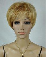 perucas douradas escuras venda por atacado-Peruca Frete Grátis Dark golden Mulheres Mais Velhas Cabelo Liso e Curto Natural Perucas Cheias de Fofo Perucas Curtas