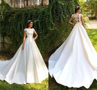 Wholesale plus size wedding dresses online - 2019 Short Sleeve A Line Satin Lace Beach Wedding Dresses Gorgeous Appliques Princess Court Train Bride Gown Vestido de Noiva