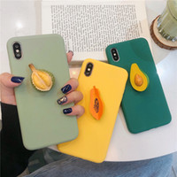 Wholesale fruit case for iphone online – custom For iphone X XR XS MAX S plus Cute D Summer Fruit Avocado Durian Hold stand Silicone phone case