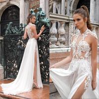 Wholesale designed wedding dress resale online - 2020 Simple Design Summer Beach Bohemian Chiffon Lace Wedding Dresses High Neck Sheer See Through Applique High Split Bridal Gowns