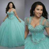 f0425974a9b Custom Made 2019 Mint Ball Gown Luxury Crystals Princess Puffy Quinceanera  Dresses Turquoise Ruffles Vestidos De 15 Dress with Bolero jacket