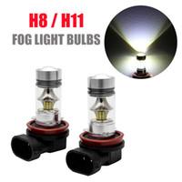 Wholesale h8 bulb yellow resale online - H11 H8 LED Car Fog Light W Samsung Driving DRL k White Bulbs UK