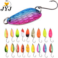 Wholesale bass trout lure online - 0pcs g fishing tackle bait fishing metal spoon lure bait for trout bass spoons small hard sequins spinner spoon