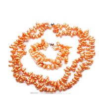 laranja pérola jóias conjuntos venda por atacado-O ENVIO GRATUITO de Conjunto de Cor Laranja Cultivada de Água Doce Pulseira Colar Pulseira de Moda Jóias (A0423)