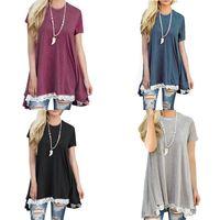 Wholesale ladies simple t shirts resale online - Round Collar T Shirt Summer Lady Wild Joker Cotta Splicing Lace Clothes Black Gray Blue Simple Fashion xc D1