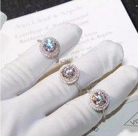 farbe pops ring großhandel-Pop Goood4store Handgemachte Luxuxschmucksachen 925 Sterlingsilber-Rundschnitt PinkWhite Saphir CZ-Diamant-Edelstein-Farben-Frauen Wedding Band Ring