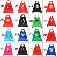 Wholesale kids superhero party masks for sale - Group buy 31 Styles Superhero Double Side Cape and Mask cm Cartoon Cape with Mask for kids Christmas Halloween Party Cosplay Cape Costumes