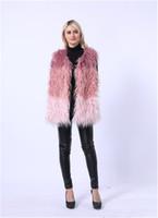 меховая куртка оптовых-2018 Faux fur coat female long section  fur grass vest jacket red faux
