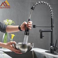wasserhahn ziehen großhandel-Blackend Spring Küchenarmatur Ziehen Sie Seitensprüher heraus Dual Spout Einhebelmischer Waschbecken Wasserhahn 360 Drehung Küchenarmaturen