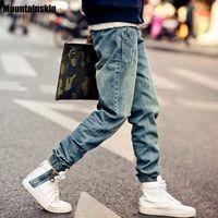skinny jeans koreanischen stil männer großhandel-Mountainskin Pop Korean Style Herren S Jeans Distrressed Jogger Jeans Slim Fit Jeans Skinny Stretch Elastic Jeans