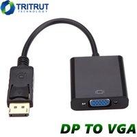 cable hdtv de la computadora al por mayor-La exhibición de DisplayPort DP del puerto VGA Cable adaptador macho a hembra convertidor para HDTV Monitor de ordenador PC portátil proyector con OppBag MQ200