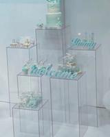 ingrosso vasi di nozze-Fiori trasparente vaso acrilico Stand fiore Bouquet stand centrotavola per matrimonio Vetrata artigianale espositore strada conduce nozze fiori fondali
