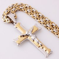 Wholesale byzantine crosses for sale - Group buy Granny Chic Christian Jesus Cross Pendant Necklaces mm Silver Gold Link Byzantine Chain Stainless Steel Men Jewelry Collar Gift
