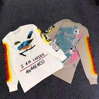 kuş kafatasları toptan satış-KANYE WEST WES LANG T-SHIRT YURTDIŞI El boyalı kuş grafiti kafatası Uzun kollu T gömlek HIP HOP Erkekler Kadınlar Yüksek Kalite Streetwear T-shirt