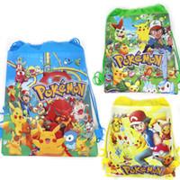 ingrosso zaini pikachu-1PC Go Baby Shower Bomboniere per bambini Tessuto non tessuto Coulisse Mochila Regali Borse Zaino Pikachu Forniture per feste di compleanno