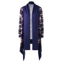 ingrosso cardigan alla moda-Spring Coat Women Ladies Print Cardigan manica lunga corta maglia a vento antivento donna moda streetwear