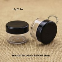 Wholesale plastic vials lids resale online - 50pcs Plastic15g Cream Jar with Black Lid Empty PS OZ Women Cosmetic ml Container Small Eyeshadow Vial Refillable Pot