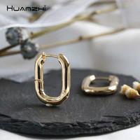 você forma aro venda por atacado-HUANZHI 2019 Moda Minimalista Geométrica U Forma de Prata Banhado A Ouro Banhado A Ouro Brincos Para As Mulheres Meninas Partido Jóias de Viagem