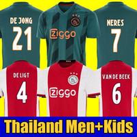 d5c80b6f541 Thailand DE JONG TADIC 2018 2019 2020 AJAX FC soccer jerseyS ZIYECH CRUYFF jerseys  19 20 footballkit shirt Netherland kids sets uniform
