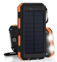 Wholesale outdoor usb solar charger resale online - Dual USB External Portable mAh Waterproof Solar Power Bank Solar Charger with Compass Outdoor Camping Light