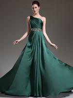 lindo vestido de noite azul frisado venda por atacado-2019 New Beautiful verde escuro Prom vestidos venda quente vestidos de noite um ombro formal vestido frisado cristal brilhante Vestido De Festa