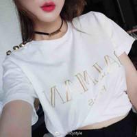 sello xl al por mayor-Verano nuevo estilo botón de oro estampado en caliente camiseta camiseta simple moda algodón manga corta mujer verano