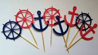 Wholesale custom wedding cupcake picks for sale - Group buy custom nautical anchor wedding birthday Cupcake Toppers Picks baby shower wedding birthday toothpicks decorations Party Supplies Event