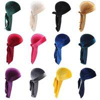 Wholesale halloween pirate hats resale online - 2020 hot Designer Durag Velvet Durags Hair Bonnets Skull Pirate Hat With Long Tail For Men And Women Hat