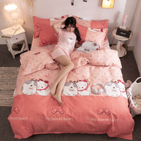 Wholesale purple romantic bedding resale online - Cartoon Rabbit Bedding Set For Girls Sweet Cute Romantic Pink Duvet Cover Queen King Single Full Twin Soft Bed Cover with Pillowcase