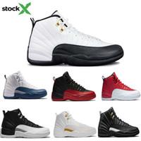 zapatos de baloncesto de los hombres de color azul oscuro al por mayor-12 zapatos de diseño zapatos Rojo Gris oscuro Baloncesto 12s OVO blanca Gimnasio tamaño de los hombres azules del ante taxi Juego de la gripe CNY zapatillas de deporte 47