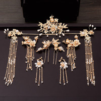 Traditional Chinese Hairpin Gold Hair Combs Wedding Hair Accessories Headband Stick Headdress Head Jewelry Bridal Headpiece Pin Y200409
