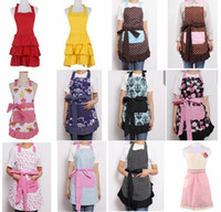 Wholesale chef prints for sale – custom 29 Design Cotton Retro flower Kitchen Apron girl Flirty Aqua Damask Ruffled Chef Floral Cooking Aprons double layers top quality