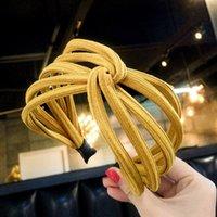 ingrosso capelli gialli coreano-Calda estate coreana fascia larga gialla per le donne semplice fascia dei capelli tessuto versatile dolce carino femminile lavata faccia cerchio