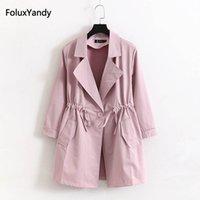 frauen rosa graben großhandel-4 XL Plus Size Frauen Trench Oberbekleidung Pink Schwarz Grau Beiläufige Lose Lange Trenchcoat