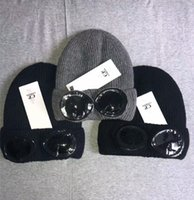 ragbi şapkaları şapkaları toptan satış-İki bardak CP ŞİRKET Beanies Sonbahar Kış sıcak şapka örme kalın kafatası CP şapka gözlük beanies kapakları