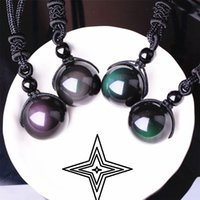 Wholesale obsidian pendant necklace for sale - Group buy Black Obsidian Necklace Rainbow Eye Transfer Good Luck Bead Pendant Necklace For Women Luxury Jewelry Polyester Rope Natural Stone Necklace