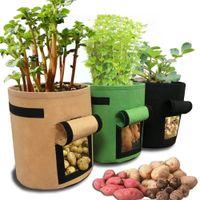 verduras cultivadas en casa al por mayor-7 galones de telas Tomates Bolsa de cultivo de papas con asas Flores Vegetales Bolsas de jardinería Jardín en casa Plantación Accesorios